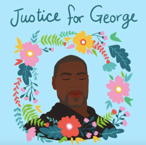 Illustration of the late George Floyd, surrounded with flowers